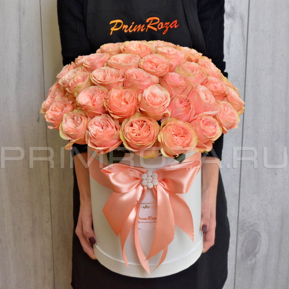 Букет из пионовидной розы в коробке — img 15